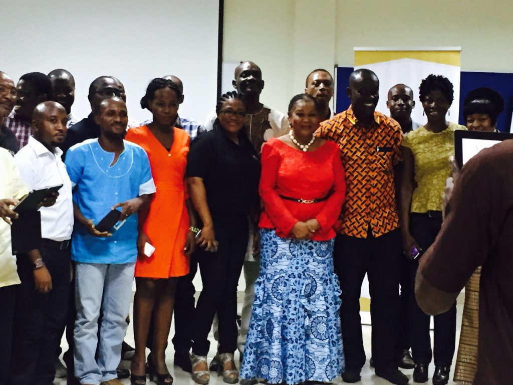 The former CEO of the Chamber of Mines, Rev. Dr. Joyce Rosalinda Aryee in a group photograph with a few participants at an AMN Q2 Event in 2015